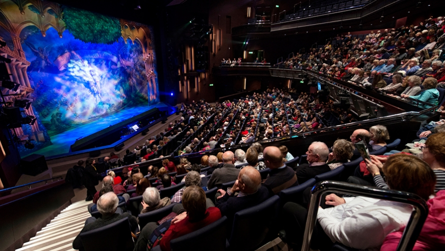 Audiotium audience looking out to panto stage