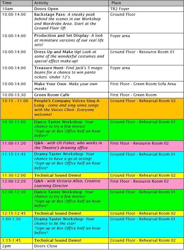 Open Day Schedule