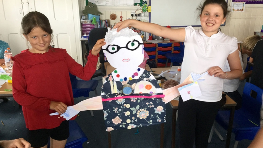 Casey O'Dee and Milema Lesaimschi with their group's creation - Beryl Cook