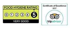 Hygiene Rating 5 stars and Certificate of Excellence TripAdviser